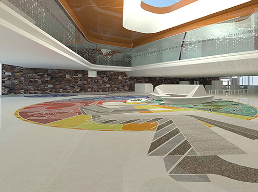 proposed design for terrazzo floor in town square area shows a modernized Will Rogers.