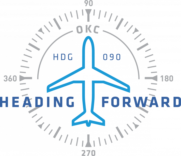 Heading Forward Terminal Expansion Project Logo, Airplane inside of compass with heading of 90 degrees for east