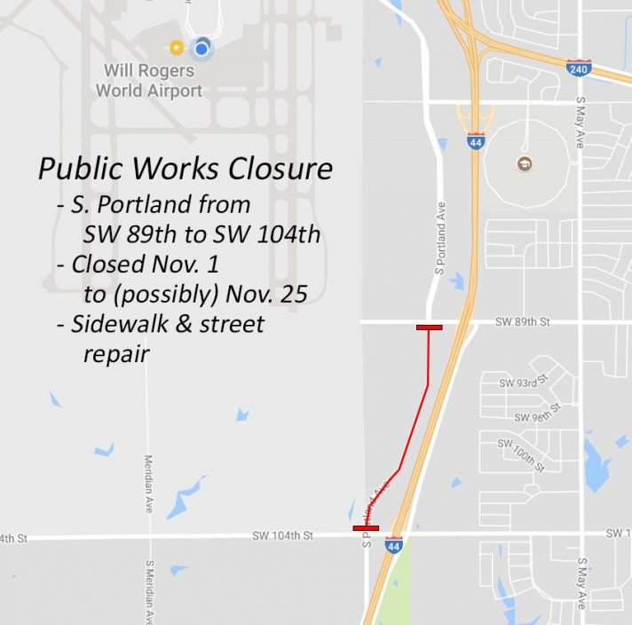 Closed area of Portland Avenue, between SW 104th St. and SW 89th St.