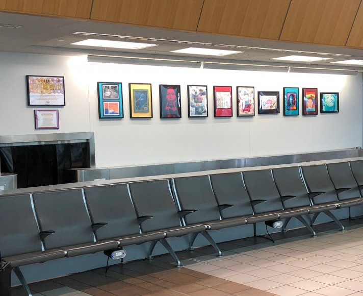 a photo of several art pieces by youth from Oklahoma
