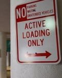 Sign indicating loading zone
